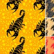 Set ot scorpion seamless pattern — Stockvectorbeeld