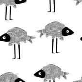 面白い魚のシームレスなベクター パターン — ストックベクタ