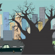 Cityscape background with cars and tree — Stock Photo