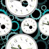 Seamless pattern with clocks — ストックベクタ