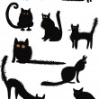 Funny black cats collection — Stock Vector