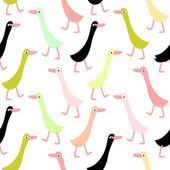 Funny ducks seamless pattern — Stock Vector