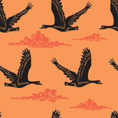 Seamless pattern with flying geese — Stock Vector