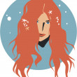 Girl with long curly red hair — Stock Vector