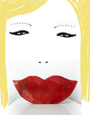 Blonde woman with red lips — Stock Photo