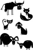 Funny animal silhouettes — Stock Vector