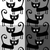 Seamless pattern with black cats — Stock Vector