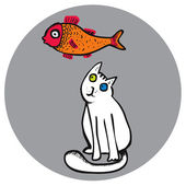 Cat looking at goldfish — Stock Vector