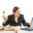 Business woman in a nervous, stressed state — Stock Photo