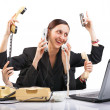 Six-Armed Secretary of the time everywhere - Stock Photo