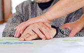 Wrinkled hands — Stock Photo