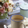Coffee with vintage cup — Stock Photo