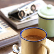 Coffee with retro cup — Stock Photo