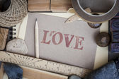 Handicraft frame with love Message. — Stock Photo