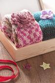Knitting scarves — Stockfoto
