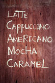 Coffee menu handwritten — Stockfoto