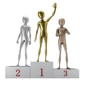 3d humanoids on pedestal — Stockfoto