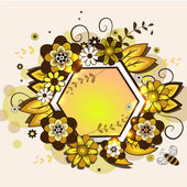 Vector frame in the form of honeycomb with a floral design. EPS 10 — Stock Vector