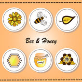 Labels Bee&Honey — Stock vektor