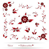 Vector set of red flowers and leaves. EPS 10 — Stock Vector