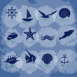 Icons sea and marine life in blue. EPS 10 — Stock Vector #25338593