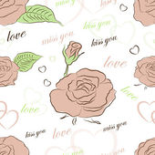 Seamless vector pattern with roses on a white background. Eps 10 — Stock Vector
