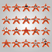 Un ensemble d'étoiles de vecteur d'émotions drôle et tristes — Vecteur