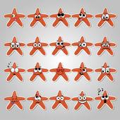 一组矢量星与搞笑和悲伤的情绪 — 图库矢量图片