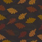 Autumn vector pattern with oak leaves — Vector de stock