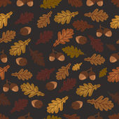 Autumn vector pattern with oak leaves and acorns — Vector de stock