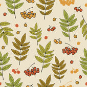 Autumn vector pattern with leaves and rowan berries on a light background — Stock Vector