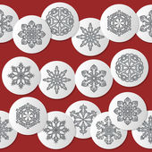 Vector pattern with snowflakes on a red background — Stock Vector
