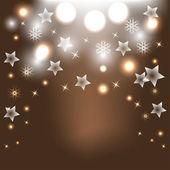 Brun jul bakgrund med stjärnor och snöflingor — Stockvektor