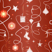 Christmas seamless pattern on a red background — Stock Vector