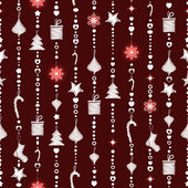 Christmas seamless pattern on maroon background with garlands — Stock Vector