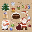 Vector set of Christmas stickers — Stock Vector