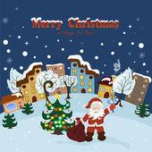 圣诞老人与圣诞贺卡 — 图库矢量图片