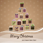 Christmas gifts of Christmas tree vector — Vector de stock