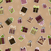 Seamless Christmas pattern with gifts — Stock Vector