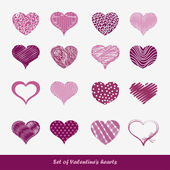 Set of stickers Valentine's hearts — Stock Vector