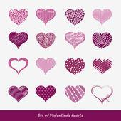 Conjunto de corações de adesivos do dia dos namorados — Vetorial Stock