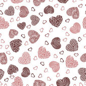 Seamless pattern with red hearts on a white background — Stock Vector