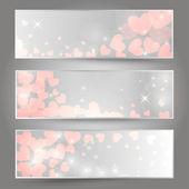 Horizontal romantic banners — Stock Vector