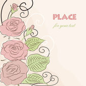 Vector background with pink roses — Vector de stock