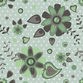 Seamless pattern with green summer flowers — Stock Vector