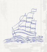 Hand drawing a sketch of a ship sailing on the waves in copybook — Stock Vector