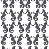 Seamless sea pattern with black sea horses on a white background — Vector de stock