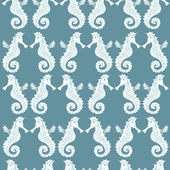 Seamless pattern with sea-horses on a blue background — Stock Vector