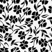 Seamless pattern with black flowers on a white background — Vector de stock