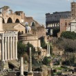 Stock Photo: Foro Romano and coliseum on background